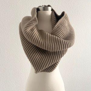 BCBGMaxAzria Zip-Knit Snood Collar Scarf Taupe
